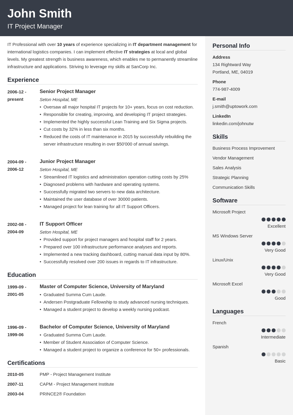 Professional CV Template Cubic