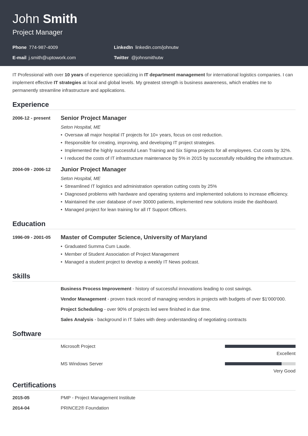 Professional CV Template Influx