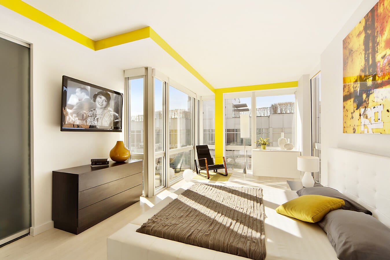modern interior design with yellow and red