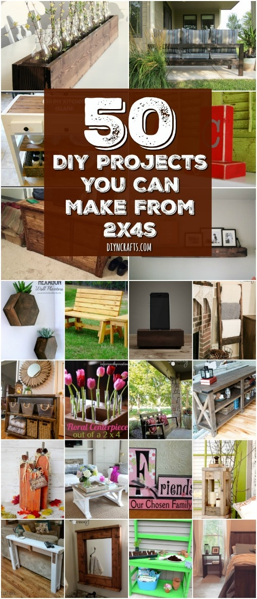 50 DIY Home Decor And Furniture Projects You Can Make From 2X4s {With tutorial lins and free plans}