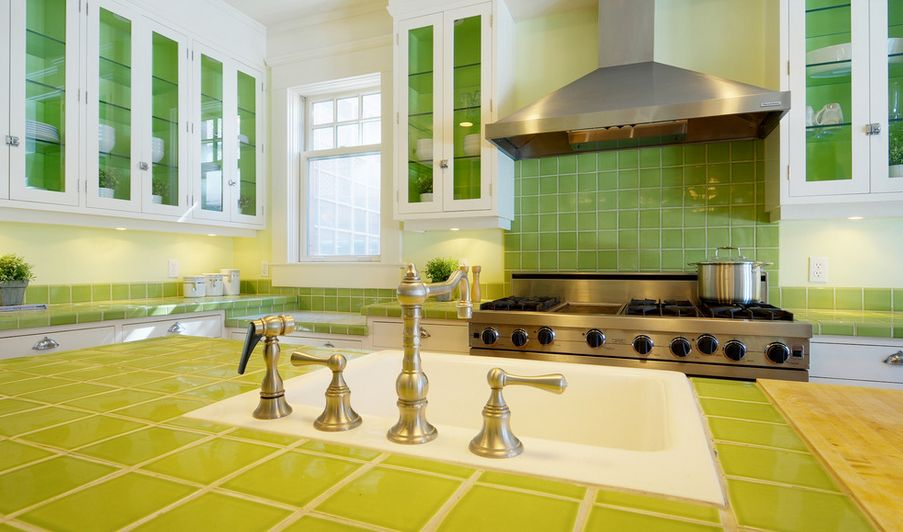 Green lime tiles for countertop and backsplash