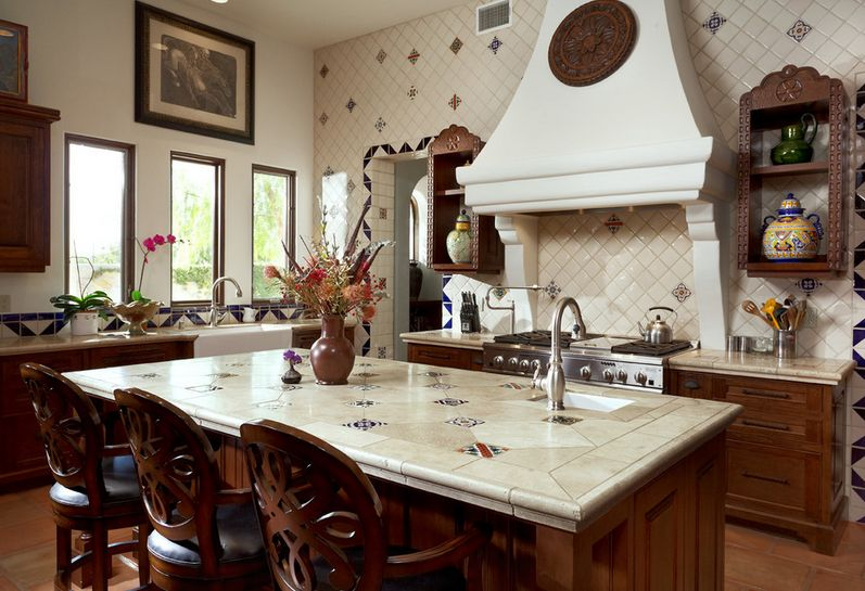 Large kitchen design with tiles on backsplash and countertop