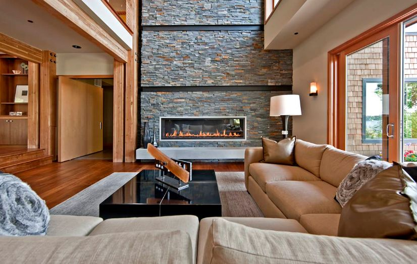 Contemporary living room with fireplace