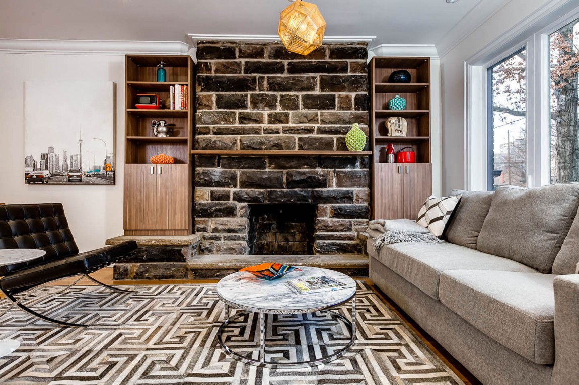 Rustic fireplace with stacked stone fireplace