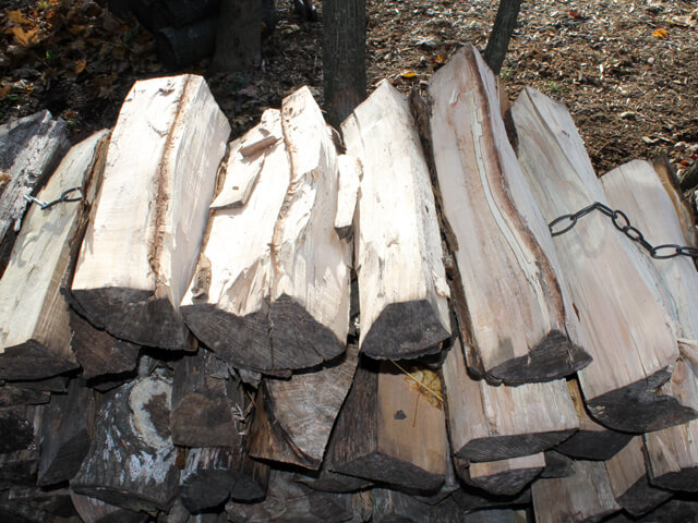 wood split and stacked