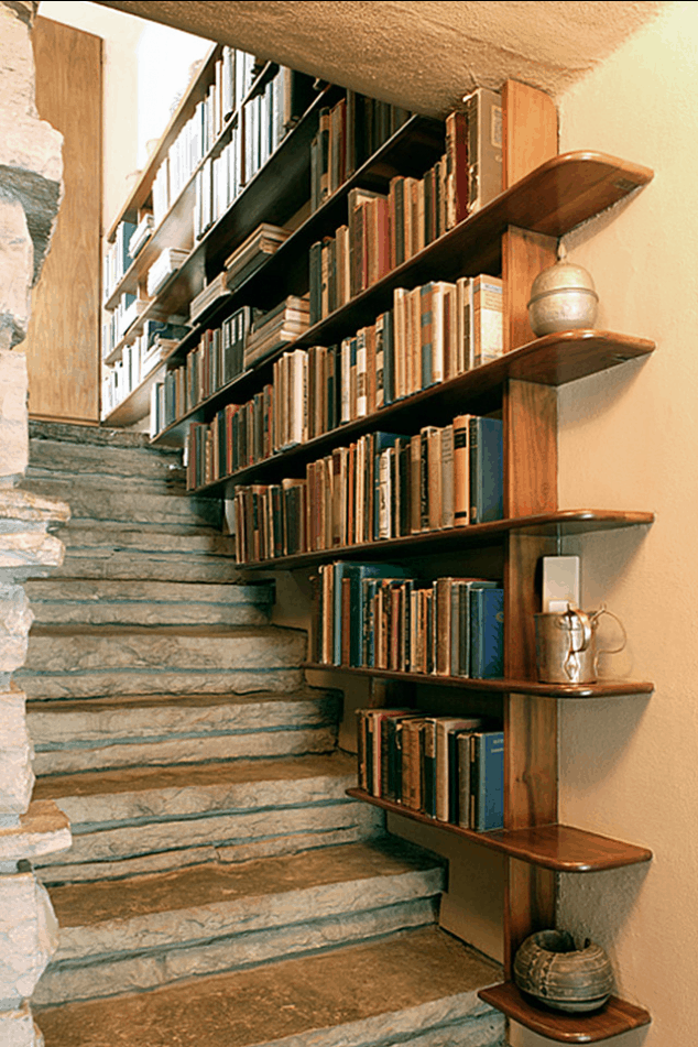 Stone and Antique Staircase Bookshelf