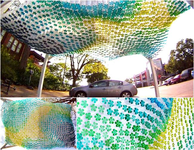 Coloured pop bottle canopy