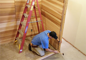 Flush the Sauna Wall Panel to the Base